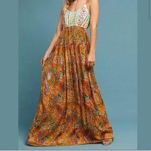 Anthropologie Raga Feathers Of Paradise Maxi Dress